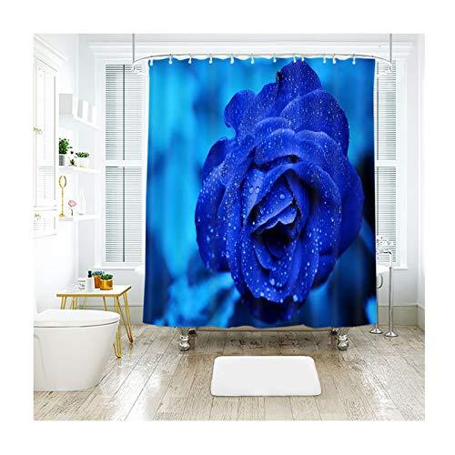 LOUMVE Polyester Blaue Rose Antibakterieller Duschvorhang mit Duschvorhangringe Antischimmel Wasserdicht Bad Duschvorhang 150 x 180 cm