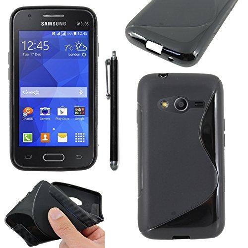 ebestStar - Compatibile Cover Samsung Galaxy Trend 2 Lite SM-G318H, Galaxy V Plus Custodia Protezione S-Line Design Silicone Morbida e Sottile + Penna, Nero [Apparecchio: 121.4 x 62.9 x 10.7mm 4.0'']