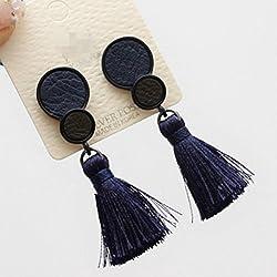 WeterCos (TM) de Corea accesorios de moda de la personalidad c¨ªrculo pendientes borla larga temperamento cuero para las mujeres (azul)