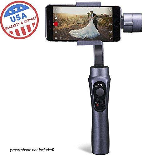 Evo Shift 3Axis Handheld Gimbal für iPhone & Android Smartphones–Intelligente App Kontrollen für Auto Zeitraffer Panoramen, Tracking + eingebauter Handy Aufladen–inkl. 1Jahr Uns Garantie