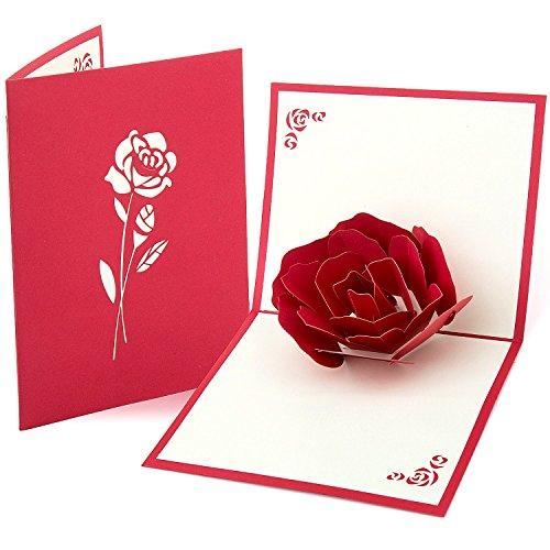 ZWOOS Rote Rose Pop Up Carte 3D Biglietto d'Auguri per Il Giorno di San Valentino Compleanno Della Festa Della Mamma...