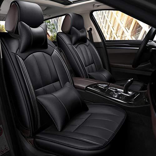 DaFei Coprisedili per Auto, Set Completo A 5 Posti Universali Airbag Compatibili Anteriore E Posteriore Comfort Traspirante Cuscino di Protezione in Pelle (Colore : Nero)
