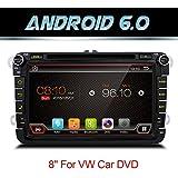 Android 6.0Quad Core WIFI modelo coche reproductor de DVD GPS 2DIN 8pulgadas para Volkswagen VW Skoda Polo Passat B6Cc Tiguan Golf 5Fabia apoyo espejo link/OBD2/subwoofer/bluetooth