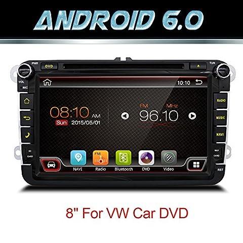 Android 6.0Quad Core Wifi Modèle de voiture lecteur DVD GPS 2DIN 20,3cm pour Volkswagen VW Skoda Polo Passat B6CC Tiguan Golf 5Fabia support Miroir Link/OBD2/caisson de
