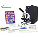 Vision Scientific Dual View Elementary Level Microscope, Mechanical Stage, Rechargeable, Microscope Book, Microscope Discovery Kit, 50 Prepared Slides Set, Carrying Case, Free Gift Package ($20 Value)