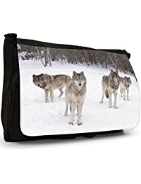 Wolf Wolves Large Messenger Black Canvas Shoulder Bag - School / Laptop Bag