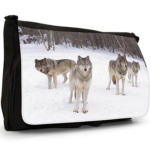 Lupo Lupi–Borsa Tracolla Tela Nera Grande Scuola/Borsa Per Laptop Lupi nella neve