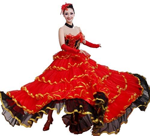 Bauchtanz große Röcke, Stierkampf Tanz Rock Big Swing Rock Kostüm Kostüm spanischen Stierkampf Tanz Rock,B,L (Spanischer Tanz Kostüm)