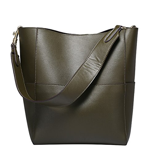 Dissa Q0755 Damen Leder Handtaschen Top Handle Satchel Tote Taschen Schultertaschen,25x15.5x31 B x T x H (cm) Grün