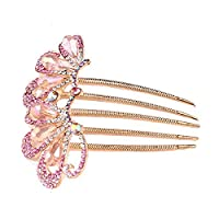 Santfe Handmade Rose Gold Plated AB Crystal Beaded Hair Claw Clip Accessories