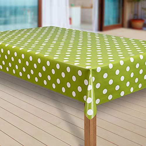 laro Wachstuch-Tischdecke Abwaschbar Garten-Tischdecke Wachstischdecke PVC Plastik-Tischdecken Eckig Meterware Wasserabweisend Abwischbar G10, Größe:40x40 cm Muster, Muster:Punkte grün