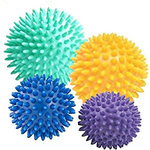 4x Spiky Massage Balls 10cm 8cm 7cm 6cms -fine-toned® plus FREE EXERCISE INSTRUCTION CHART - Trigger Point Massage - Myofasical Ball, Exercise Ball, Lacrosse Ball, Environmental Friendly plastic, PAH and Phthalates Free