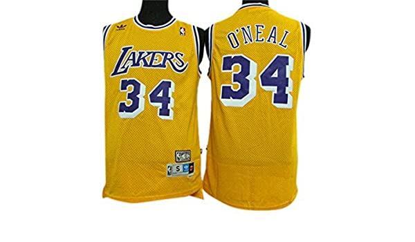 705d4ddec ... Lakers 34 Shaquille ONeal Yellow Hardwood Classics Jersey Size-S by  Howell Amazon.co ...