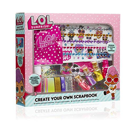 L.O.L. Surprise ! Kit Scrapbooking Enfant Thème LOL Surprise avec Album, Stickers et Ruban | Kit De Loisirs Créatifs | Coffret Complet pour Activité Manuelle | Idée Petit Cadeau Fille 5 Ans +