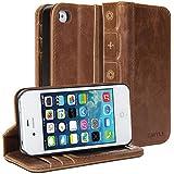 iPhone 4 4S hülle, GMYLE Book Case Vintage für iPhone 4 / iPhone 4S - Braun Classic Crazy Horse Pattern PU Leder-Buch-Stil Flip Folio Fall-Abdeckung Ständer