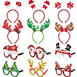 12 Pieces Christmas Headbands and Glasses Frame for Christmas and Holiday Party Fancy Hair Band Hats Photo Booth Props