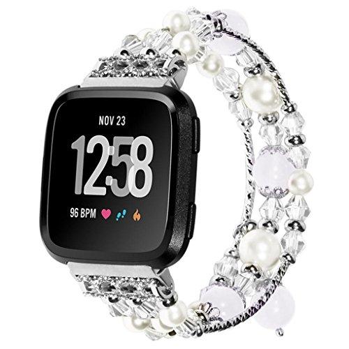 Voberry Armband, Luxus Sport Perlen Armband Armband für Fitbit Versa (Silber)