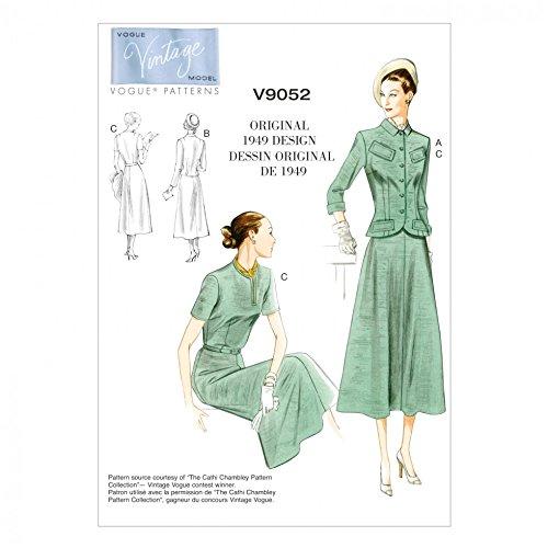 Vogue Damen Schnittmuster 9052Vintage Stil Jacken, Kleid und Gürtel Vintage Vogue