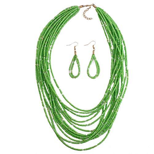 Yazilind Halskette Mode Kostüm Schmuck für Frauen Kragen Harz Rocailles Perlen Lätzchen Halsketten Set - Grünen Kostüm Schmuck Sets