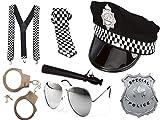 Polizeikostüm für Jungen und Herren, Set mit Krawatte, Hut und Marke