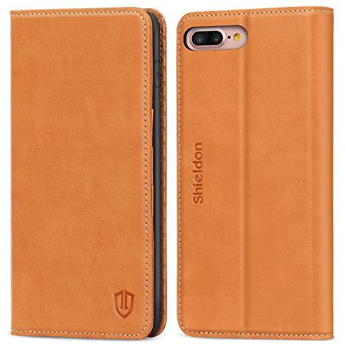 SHIELDON iPhone 8 Plus Hülle, iPhone 7+ Plus Schutzhülle Echtleder, Lifetime Garantie, TPU Handyhülle mit Kartenfach, Magnetische Klappbare Lederhülle, Case Kompatibel für iPhone 7 Plus/8 Plus, Braun -
