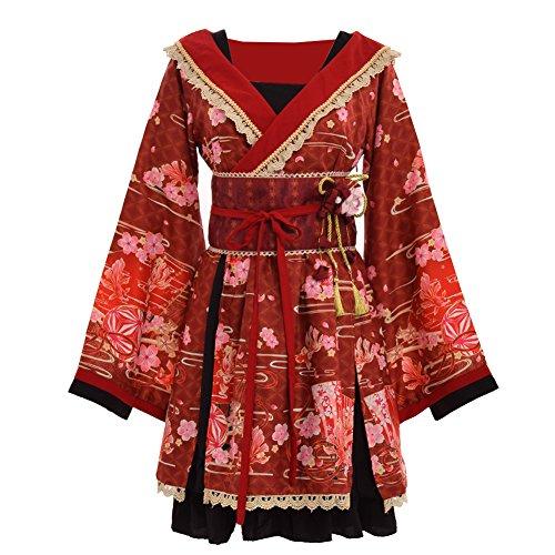GRACEART Jjaponés Kimono Cosplay Disfraz Vestir con Cinturón (Small)