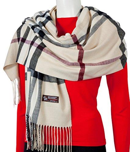 RW Fashion, Écharpe de femmes - Châles, Écharpe à carreaux, écharpe en cachemire,classique cachemire et viscose, - à damier - STK342 Beige