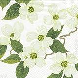 Caspari Lot de 20 serviettes de table en papier Motif fleur blanche