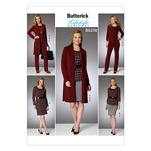 Butterick Patterns 6258) ZZ Größen 16–18/Large 20–22/2X Große 24–26Schnittmuster Cardigan Top Gürtel Kleid Rock und Hose (Lrg-rock)