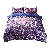 Generic 3Set sehr weich Stoff Bohemia Stil, Quilt, Bettwäsche-Set mit Kissen in verschiedenen Größe, Purple-red, 200x230 cm-fit for 1.5M Bed