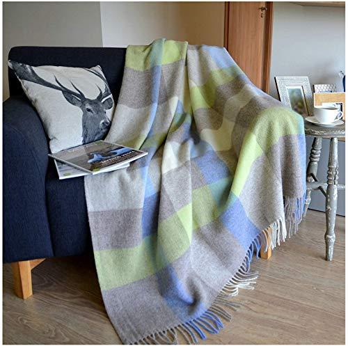 Linen & Cotton Warme Decke Wolldecke Kariert Wohndecke Kuscheldecke Devon - 100% Reine Neuseeland Wolle, Blau/Grau/Grün (140 x 200cm), Sofadecke/Tagesdecke/Überwurf Plaid Blanket/Schurwolle