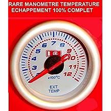 Superbe manómetro Temperature echappement Turbo fondo color blanco a Eclairage. Raid Preparation 4x 4
