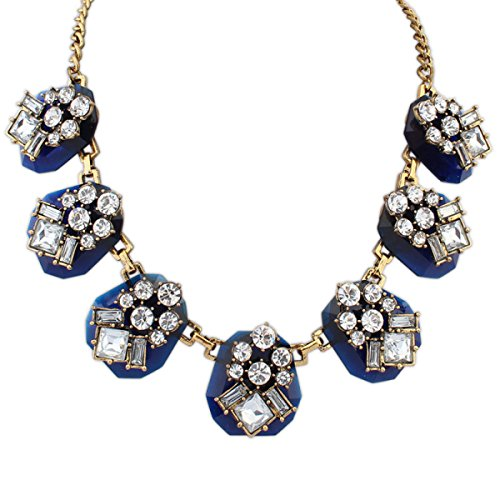 Collier De Gemme De Diamant Géométrique Personnalité De La Mode blue