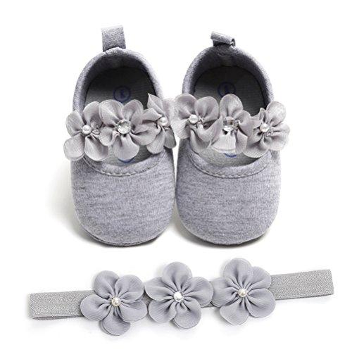 Zapatos de Niña con Diadema Regalo Set Bautizo Lovely Algodón Flor Suave...