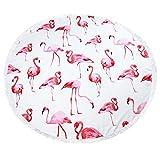 FitLit Rundes Strandtuch - Flamingo, groß 59 Zoll, dick und weich, Hippie Picknickdecke, Badetuch, Yogamatte