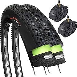 Fincci Set Paire 26 x 1,95 Pouces 53-559 Pneus Lisses avec Protection Antiponcture Anti-Crevaison 2.5mm et Chambre à Air de Valve Presta pour Route VTT Montagne Hybrid Vélo Bicyclette (Un Paquet de 2)