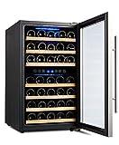 120B Kompressor Weinkühlschrank, 120 Liter, 45 Flaschen (bis zu 310 mm Höhe), 2 Zonen 5-10°C/10-18°C, 7 Holz-Einschübe, LED-Display, Edelstahl Glastür