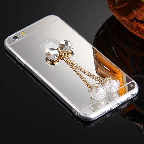 Wkae Case Cover Für iPhone 6 &6s Bowknot-Ketten-Anhänger TPU-Schutzhülle ( Color : Rose Gold ) silber