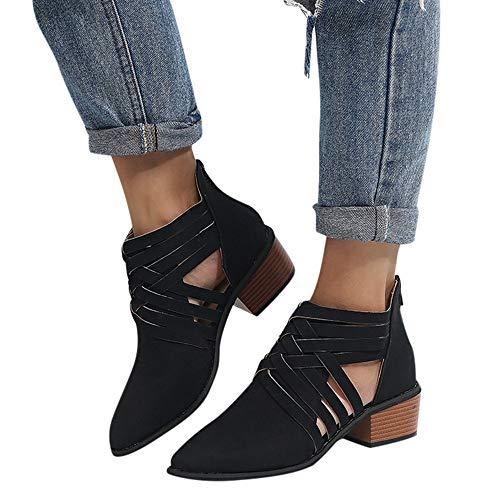 Stiefel Damen Herbst Schuhe Ankle Roman Stiefel Einzelne Schuhe Sexy Nieten Schnalle Stiefel Elegant Party Hochzeitsstiefel Casual Stiefeletten mit Blockabsatz ABsoar Damenstiefel