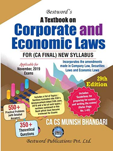 Bestword A Textbook on Corporate And Economic Laws New Syllabus for CA Final By Munish Bhandari Applicable for November 2019 Exam
