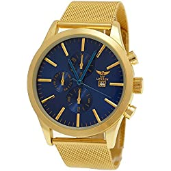 NY London Design Gold Blue Men Chronograph with Date Display + Watch Box