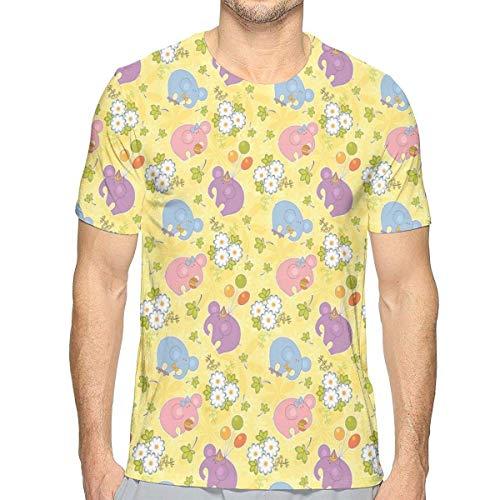 saletopk Camisetas Impresas en 3D, Naturaleza Animada de Primavera, Lindos Elefantes rechonchos...