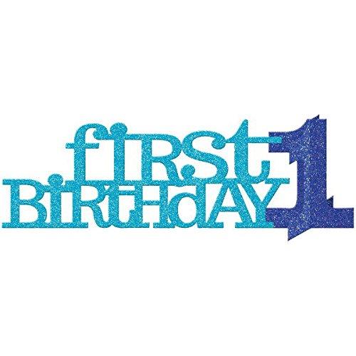 Décoration de table à paillettes pour 1er anniversaire Bleu 0013051515478