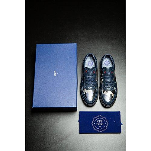 OPP Herren Herbst handgemachte echte Kuh-Leder-Lace-up Camouflage-Design Anti-Rutsch-Kleid Low Schuhe Blau