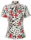Fashion Tops Damen Kurzarm Bluse festlich Vintage Sommer t-Shirt Blumen S BP896-1
