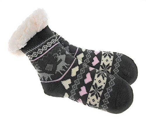 Laake Mädchen Hütten Socken Kinder Home Socks mit Teddyfutter Kuschelsocken Lammfellimitat und ABS-Stopper-Sohle, Größe: 28-31-1, 24/27 - 32/35 -
