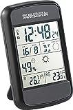PEARL Wetterstation Funk: Digitale Wetterstation FWS-90 mit Funkuhr, Weckalarm & Wetterprognose (Digitale Innen Außen Thermometer)