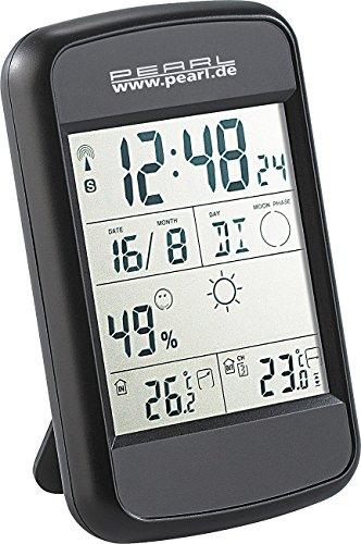 PEARL Wetterstation Funk: Digitale Wetterstation FWS-90 mit Funkuhr, Weckalarm & Wetterprognose (Wetterstation mit Außensensor)