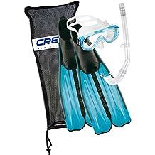Cressi Rondinella Bag Set da Snorkeling, Maschera, Pinne e Boccaglio, Multicolore (Acquamarina), 41/42