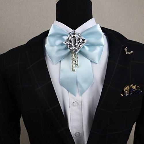 lpkone-Diamond retro homme noeud papillon tissu cuir/bow fête de mariage coréen garçon ville hôte Bow Tie Light Blue